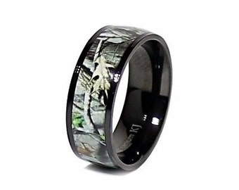 personalized titanium black camo ring unisex hunting camouflage 8 mm wedding band ring free engraving - Camo Wedding Ring Sets For Him And Her