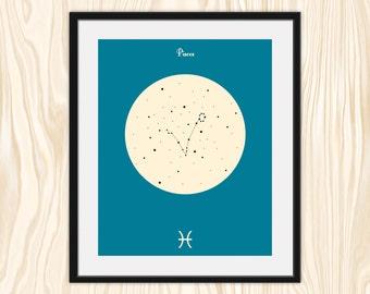 PISCES Astrological Constellation Print, Zodiac Art, Minimalist Fine Art Print Poster