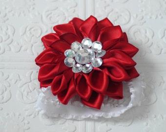red flower baby headband, valentine baby headband, red baby headband, newborn headband, photo headbands, baby flower headband, headband gem