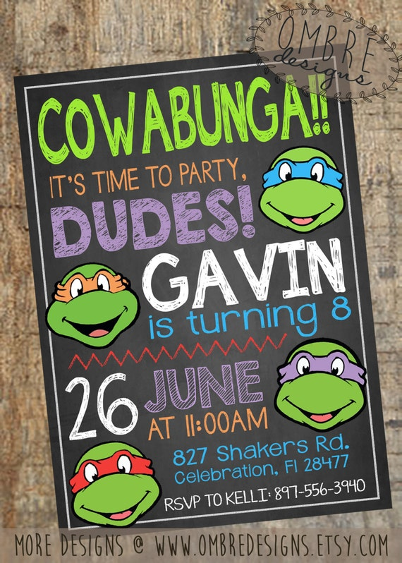 Etsy Ninja Turtle Invitations was best invitations example