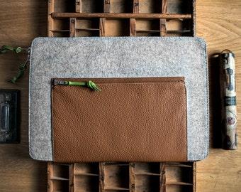 Grey Felt MacBook 13 Air Sleeve - Grey Wool Felt with Brown Leather