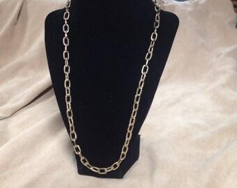 Vintage Goldtone Chain Design Necklace, Length 24''