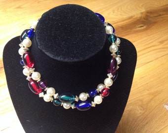 Vintage Multi Colored and Faux Pearl Beaded Necklace, Length 27''