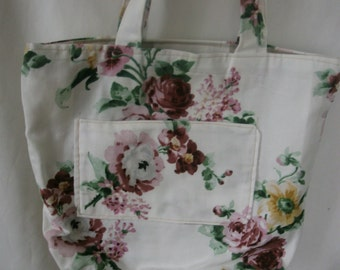 Rosalie - floral fabric with Pocket for mobile phone or key bag or... each interior or exterior