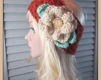 Crocheted Granny Square Headband with Beige Flower. .