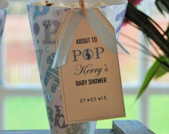 Baby shower for baby boy, 20 personalised popcorn or sweet cones.