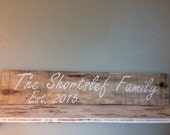 Your Family Sign - Custom made, reclaimed pallet wood, your last name and year married or established, Wedding gift, Anniversary gift