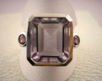 9ct White Gold Amethyst Ring with Pink Tourmalines