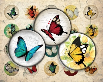Butterflies Digital Download - 30mm, 25mm (1 inch) & 20mm circles - Digital Collage Sheet for Bezel Cabochon Pendants, Crafts