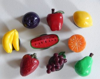 Set of 9: Variety of Fruit Magnets Handmade of Polymer Clay