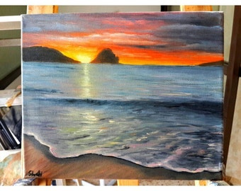 SUNSET- original oil on canvas painting