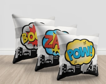 Superhero throw pillows, 3 throw pillows, superhero, super hero, set of 3, boom, pow, zap, grey and white, home decor, kids bedroom