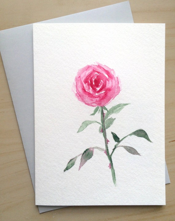 hand painted greeting card 5x7pink rose blank card original