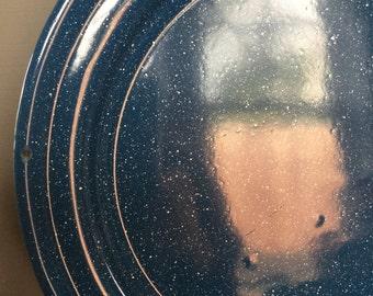 Vintage Speckled Blue & White Enamelware Plates, Set of 5
