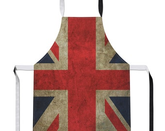 Vintage Union Jack Country Flag Luxury Novelty Football APRON Gift Kitchen Tabard Sport Olympics Cookware Linen