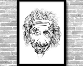 Albert Einstein Art Einstein Poster Einstein Wall Art Einstein Painting Einstein Print Home Decor Wall Decor Art Print Einstein Décor
