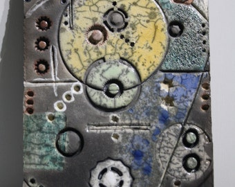 ceramic raku bas-relief, wall decor,