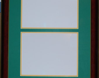 16x24 custom frame double diploma no nameplate glossy wood acid free 2x matboards uv