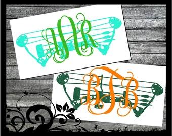Personalized Compound Bow Monogram - Circle Script Initals; vinyl decals