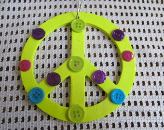 Peace Sign Round Wood Wall Hanging, Birthday Gift, Wall Decor, Gifts for her, Peace Sign, Girls Room Decor, Gifts for girls, Gifts for kids