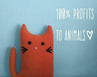 HENRY the KITTY GRAM Plush Cat Fundraiser 100% Profits to Animals, Stuffed Animal, Cat Plushie, Cat Softie, Cat Pillow