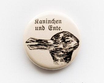 Philosophy - 'Wittgenstein's duck-rabbit', 25mm metal pin