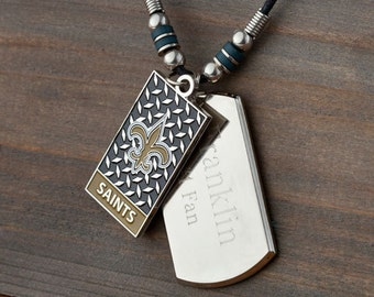 Personalized NFL Choose Your Favorite Football Team Dogtag Necklace