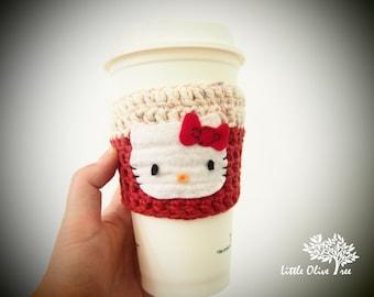 Coffee cup cozy, coffee cozy, hello kitty coffee cozy, handmade cup cozy
