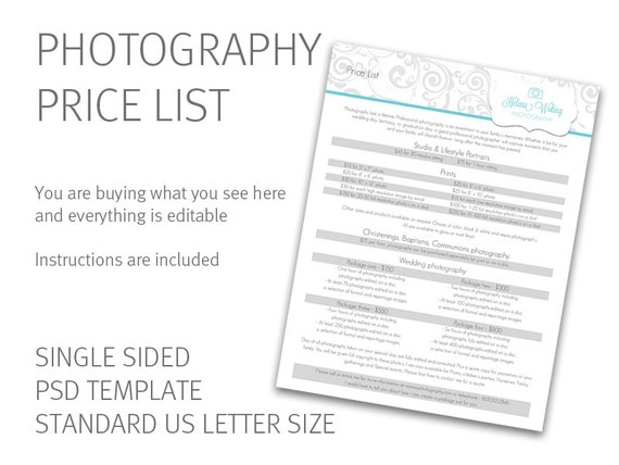 Photography price list template price guide photography