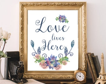 Love Lives Here, Floral Quote Art, Instant Download, Typography Print, Blue Floral Decor