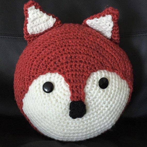 Items similar to Handmade crochet fox small round cushion ...