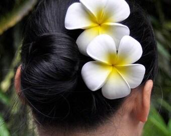 2 Plumerias foam flowers Hair clip, Plumeria hair clip, hawaiian flower hair clip, plumeria flower, frangipani hair clip