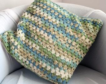 Hand Crochet Natural Green Fair Isle Effect Cushion Cover