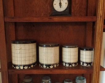 Rustic Shabby Chic Set of Four Vintage Tin Kitchen Canisters