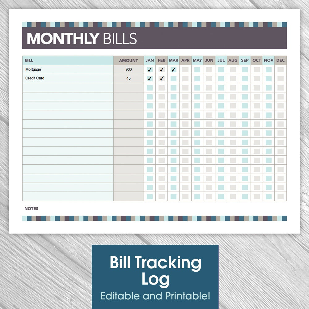 Printable Editable Monthly Bill Tracking Log by IdRatherDoodle