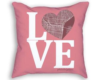 Philadelphia Pennsylvania Street Map Love Throw Pillow, Philadelphia Pillow, Philadelphia Throw Pillow, Philadelphia Cushion, Livingroom