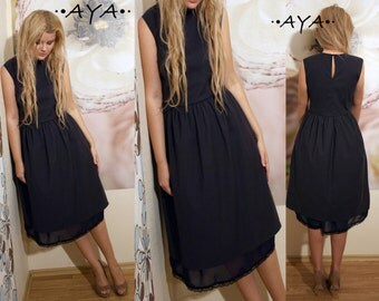 Black cotton chiffon midi knee-length femenine style spring summer dress