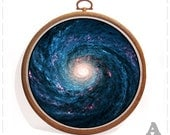 5 styles space hoop art Photo decoupage home wall decor stars gift print handmade colorful canvas frame galaxy Astronomy romantic bright