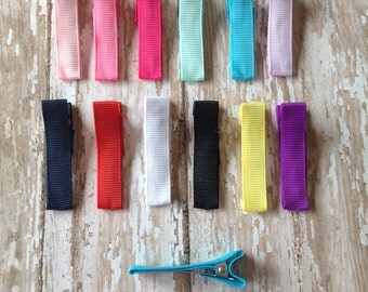Grossgrain ribbon lined alligator clips, 1 3/4 inch alligator clips, many colors available
