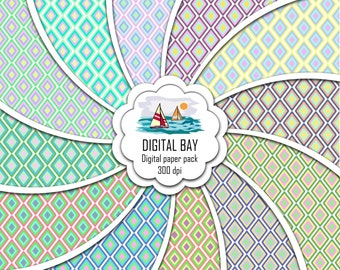 """PASTEL PATTERN - Digital paper pack – Instant download - Scrapbook Paper – Seamless - 12"""" x 12"""" - Commercial use –Digital background"""