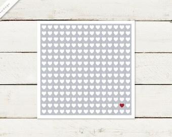 50 x wedding invitation | Square | Heart