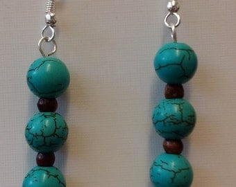 Turquoise and wooden bead earrings on sterling silver hooks