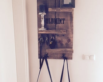 Wall shelf with key and pallet wood coat hook