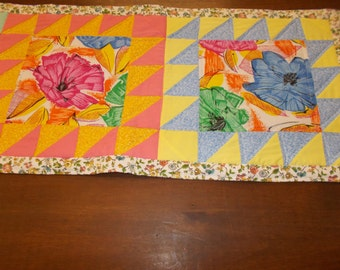 Floral print quilted table runner 15 1/2 X 70 inches