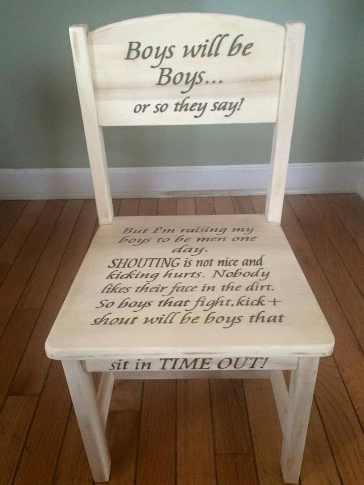 Wood Burned Toddler Time Out Chair Keepsake Decor