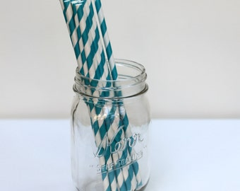 Striped Paper Straws Teal Pack of 25