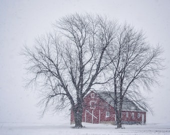 Red Barn in Snow Storm Note Card, Ready to Ship