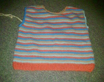 Striped cotton top gold blue orange green for little girl 4-6 x