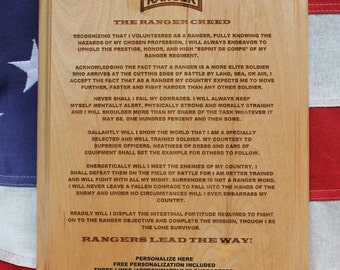 Personalized US Army Ranger Creed Plaque, military graduation gift, Rangers Lead The Way present, 8x10, 3 lines of personalized text