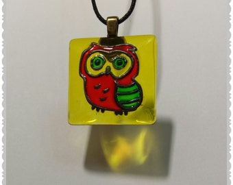 Hand painted Little Owl glass pendant necklace